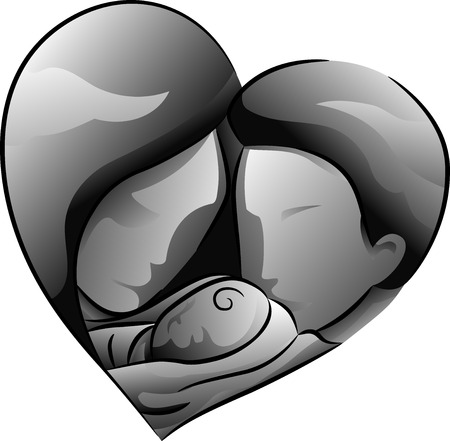 Black and White Illustration Featuring a Father and Mother Holding Their Baby Stock Photo