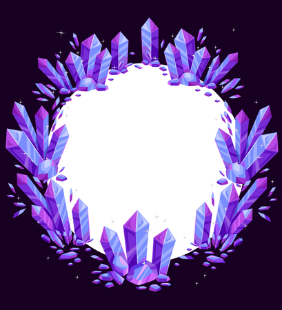 wiccan: Illustration of a Circular Frame Decorated with Purple Crystals