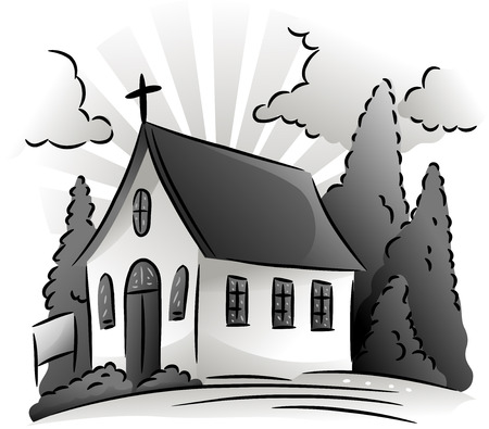 place of worship: Black and White Illustration Featuring a Small Church