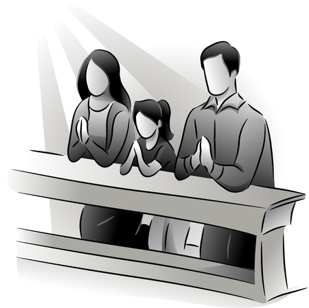 family praying: Black and White Illustration Featuring a Family Praying Together