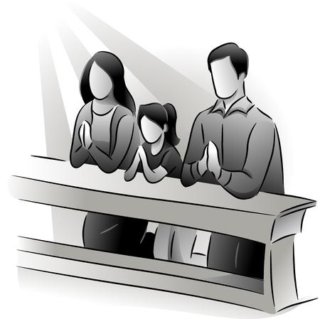 familia orando: Blanco y Negro Ilustración con una familia de orar juntos