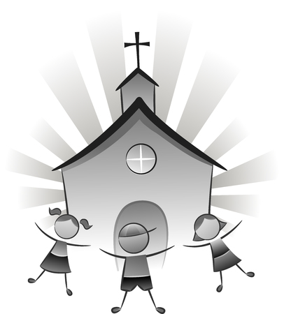 church worship: Black and White Illustration Featuring Children Playing in Front of a Church