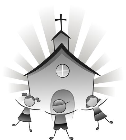 iglesia: Blanco y Negro Ilustración con niños jugando en frente de una iglesia