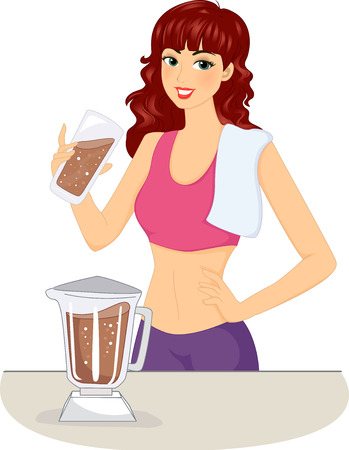 Illustration of a Woman Making a Protein Shake Stock Photo