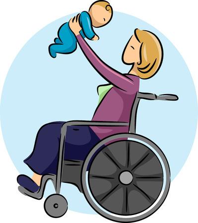 paraplegic: Ilustración de una mujer en una silla de ruedas que juega con su bebé Foto de archivo