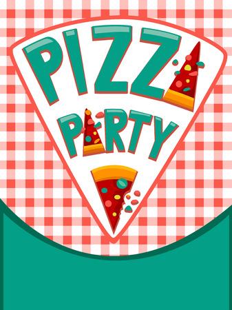 Illustratie die een uitnodigingskaart versierd met Pizza's