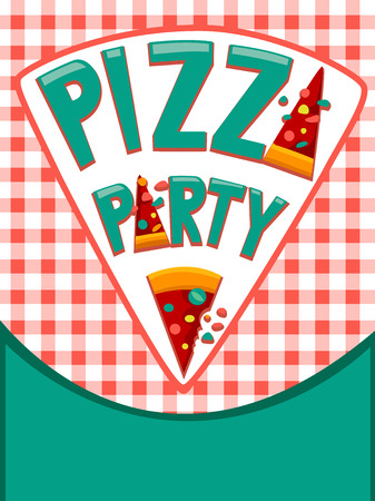 Illustration Featuring an Invitation Card Decorated with Pizzas