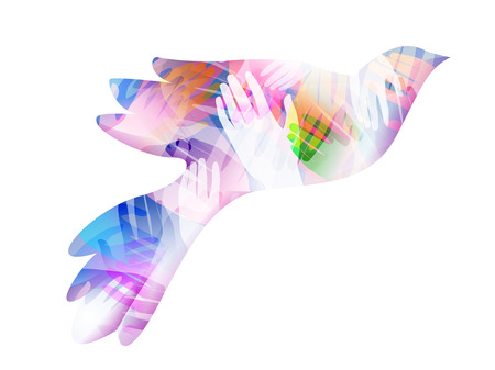 humankind: Double Exposure Illustration of Hands Inside a Flying Dove - eps10