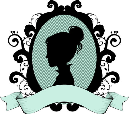 silhouette woman: Cameo Illustration Featuring the Profile of a Victorian Woman