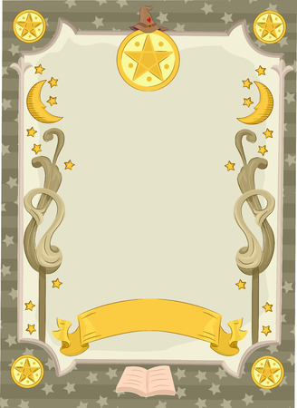 wicca: Banner Illustration Featuring a Tarot Card Decorated with Moons and Stars Stock Photo