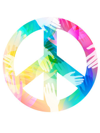 unite: Double Exposure Illustration of Hands Inside a Peace Sign -