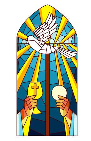 스테인드 글라스 그림 성직자 호스트와 성배를 높이는 스톡 콘텐츠