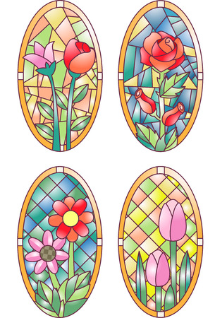 Illustration Featuring Colorful Stained Glasses Designed with Flowers Stock Photo
