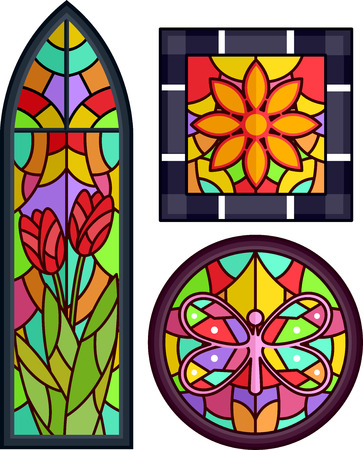 stained glass windows: Colorful Illustration Featuring Stained Glass with Floral Designs Stock Photo