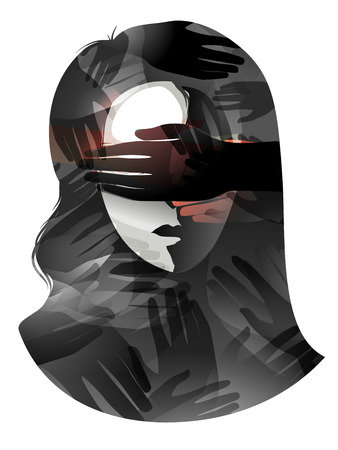 suppression: Illustration of a Woman With Her Eyes Being Covered - Stock Photo