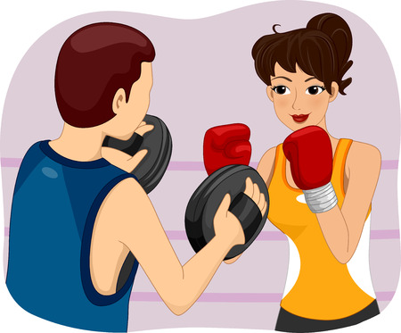 self defense: Illustration of a Woman Getting Boxing Lessons Stock Photo