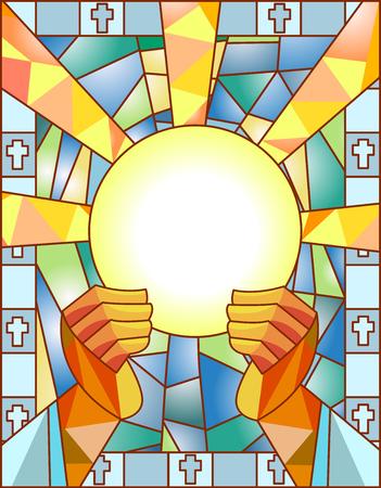 Ilustracja Witraż z kapłanem Breaking the Bread Zdjęcie Seryjne