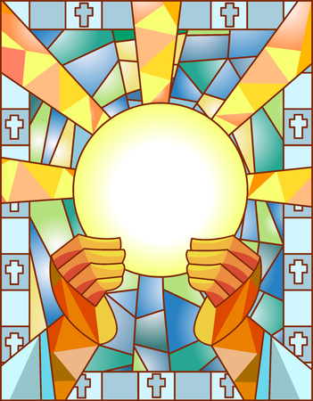 Stained Glass Illustration Featuring a Priest Breaking the Bread Stock Illustration - 63479121