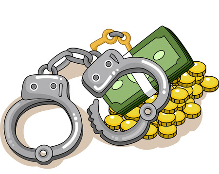 incarceration: Illustration of a Pair of Handcuffs Sitting on a Pile of Cash Stock Photo