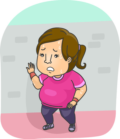 panting: Illustration of a Woman Tired After Running