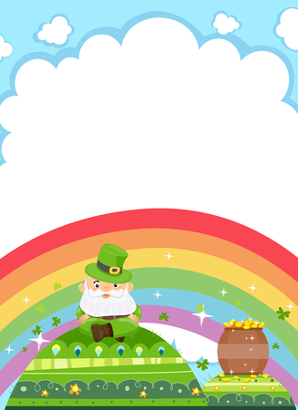 mounds: Background Illustration Featuring a Leprechaun Resting on a Green Mound