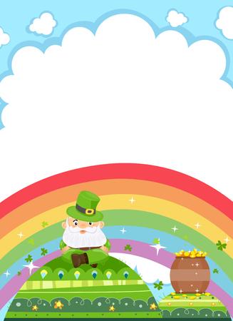 mound: Background Illustration Featuring a Leprechaun Resting on a Green Mound