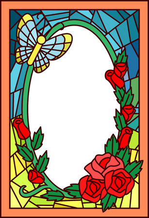 hovering: Stained Glass Illustration Featuring a Butterfly Hovering Over Roses