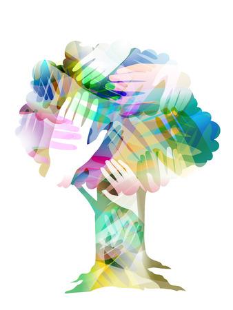 manos unidas: Doble exposición Ilustración de Manos Unidas dentro de un árbol -