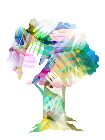 Double Exposure Illustration of Joined Hands Inside a Tree - Stock Photo