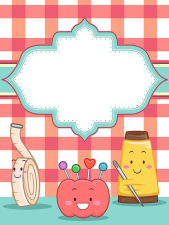illustration invitation: Illustration of an Invitation Card Featuring Sewing Mascots