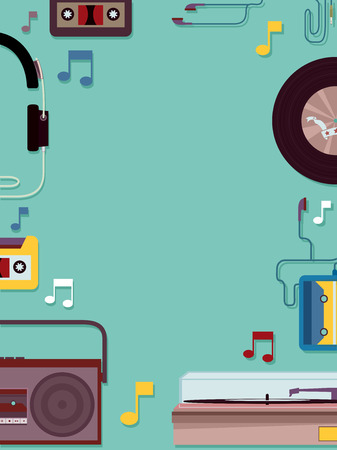 casette: Frame Illustration Featuring Vintage Music Related Items Stock Photo