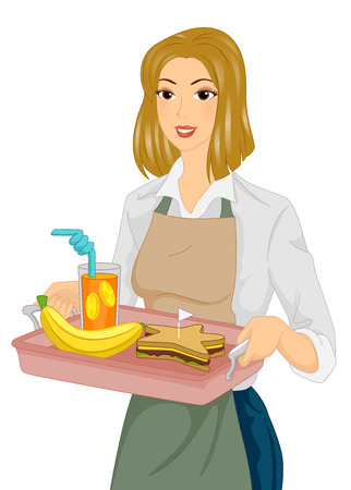 homely: Illustration of a Woman Carrying a Tray Full of Healthy Food