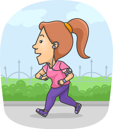 Illustration of a Woman Using a Fitness Tracker While Running Stock Photo