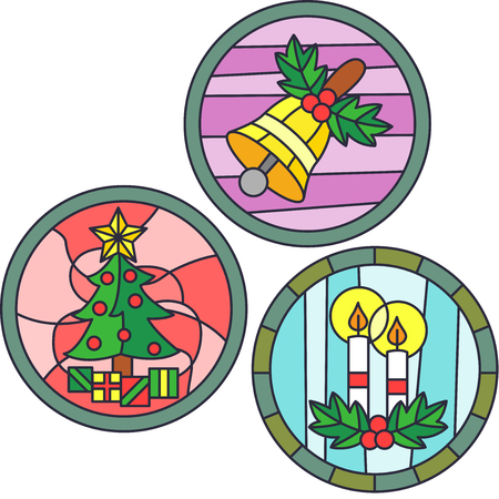 bright christmas tree: Stained Glass Illustration Featuring Christmas Symbols Stock Photo