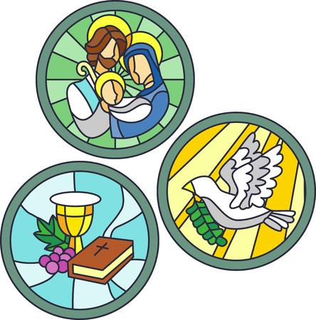 familia en la iglesia: Ilustración del vitral con símbolos cristianos Foto de archivo