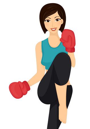defensa personal: Ilustración de una mujer tirar una patada