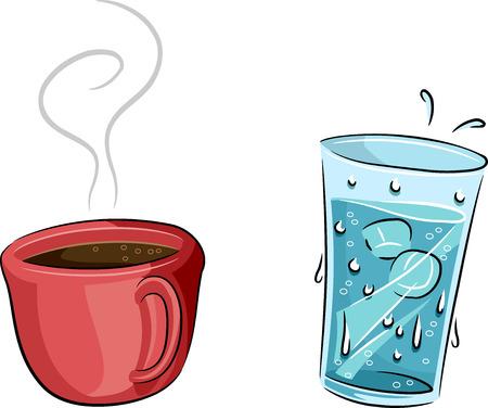 Illustratie die een koud glas water en een kop warme koffie
