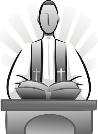 liturgy: Black and White Illustration Featuring a Priest Delivering a Sermon Stock Photo