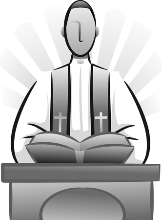 homily: Black and White Illustration Featuring a Priest Delivering a Sermon Stock Photo