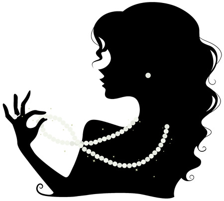 Illustration Featuring the Silhouette of a Woman Wearing a Pearl Necklace, Earring and Ring Stockfoto