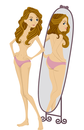 waif: Illustration of an Anorexic Woman Looking at Her Reflection in the Mirror