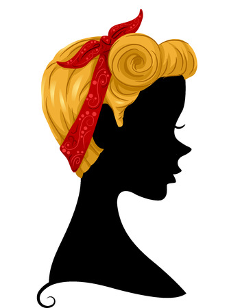 hanky: Illustration Featuring the Profile of a Woman Wearing a Bandana