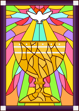stained glass church: Stained Glass Illustration Featuring a Dove Hovering Over a Chalice
