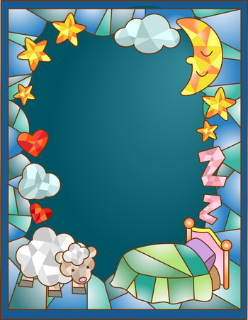 stained glass church: Stained Glass Illustration Featuring a Sheep Standing Beside a Bed Stock Photo