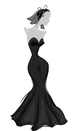 Illustration of a Mannequin Modeling an Elegant Gown Stock Photo