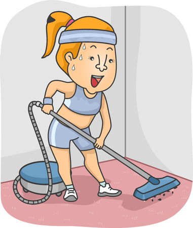 vacuuming: Illustration of a Woman Working Out a Sweat While Vacuuming - NEAT