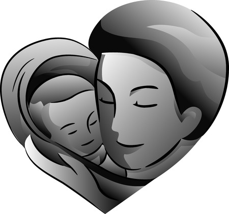 cradling: Black and White Illustration Featuring a Father Cradling His Baby Stock Photo