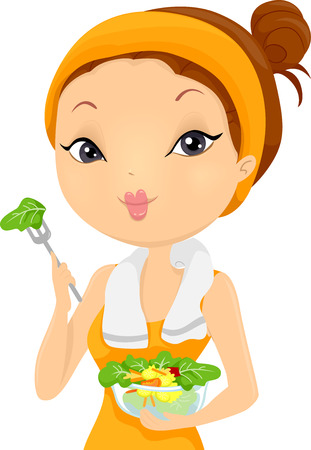 Illustration of a Woman Eating Salad After Working Out Stock Photo