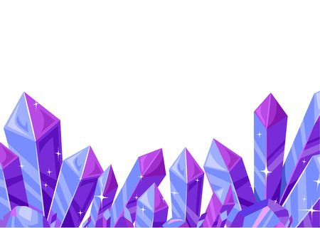 Border Illustration Featuring a Cluster of Amethyst Crystals