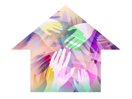 Double Exposure Illustration of Hands Inside a House  - Stock Photo